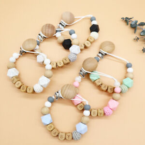 Dummy Clips Personalised Name Baby Pacifier Clips Natural Wooden Beads Holder