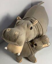"Fiesta 16"" Mama Hippo & Baby Hippo Stuffed Animal Plush Toy"