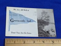 Rare 1900s Greencastle,Indiana Postcard RPPC Photo Boat Fishing Pond Antique VTG