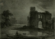 Rare Antique Master Print-LANDSCAPE-RUIN-EARLY LITHOGRAPHY-Watelet-Motte-ca.1825
