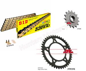 Honda CB500 X (2013 to 2018) DID Gold X-Ring Chain & JT Sprockets Kit Set