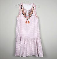 Beach Lunch Lounge Women's Linen Cotton Striped Embroidered Daphine Dress Small