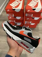 Authentic Nike Air Max 90 Black Radiant Red CZ4222-001 Fire Infrared Grey White