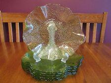 6 Gorgeous Lime Green Freeform Textured Art Glass Dinner Plates