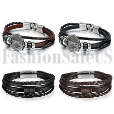 4pcs Multilayer Leather Bracelet Handmade Men Women Wristband Metal Buckle Set