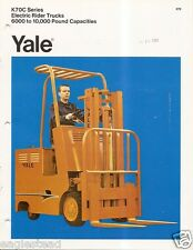 Fork Lift Truck Brochure - Yale - K70C series - Electric - c1972 (Lt16)