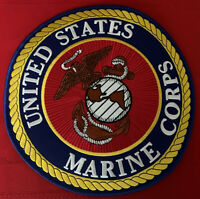 USMC United States Marine Corps jacket size patch 10 in dia black white gold red