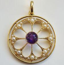 Splendido Antico Periodo edoardiano 15ct Oro Ametista & Perle Collana Con Pendente Set c1905