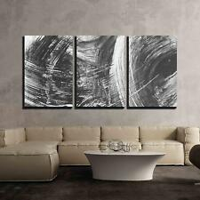 """Wall26 - Black and White Abstract Brush Painting - CVS - 24""""x36""""x3 Panels"""