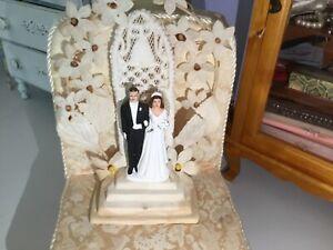 Vintage Fancy 1940's 1950's Chalkware Brunette Bride & Groom Wedding Cake Topper