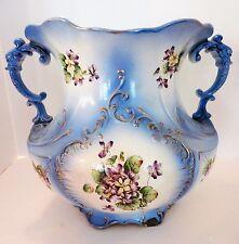 Antique Large Haynes Balt Torquay Double Handle Urn Pottery White Blue Gold,1900