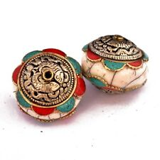 White Resin Brass 2 Beads Tibetan Nepalese Ethnic Tribal Handmade UB2671
