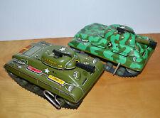 Vintage MARX TIN LITHO Wind Up Army Tank Toys Lot Camouflage 9.5