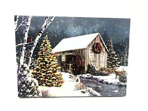 Christmas Scene Light Up LED Christmas Tree & Cabin Canvas Wall Painting EUC