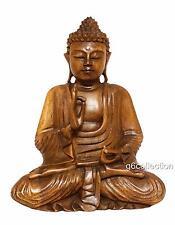 "20"" Large Heavy Hand Carved Wooden Serene Meditating Buddha Art Statue Sculpture"