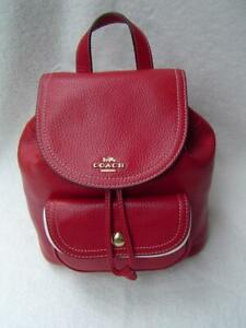 NEW AUTHENTIC COACH RED PEBBLE LEATHER PENNIE BACKPACK 22 #C4121