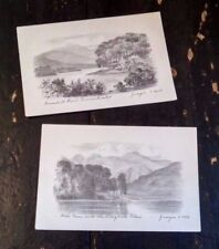 Two Vintage Postcards Judges of Hastings Pencil Etches of the Lake District