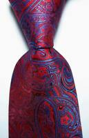 New Red Blue Paisley Mens Chinese Silk Tie UK Seller Wedding Father Gift Suit