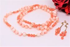 """Vintage Chinese Natural Pink Coral Beads 14 k Gold Necklace-30"""""""