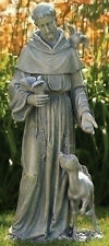 "36.5"" St Francis with Deer Figure Outdoor Garden Statue Joseph's Studio # 42345"