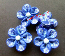 4pz perline fiore in fimo spacer separatori  20x9mm colore blu scuro