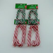 24 Candy Cane Twist Christmas Ornament Green Holiday Decoration Craft Plastic