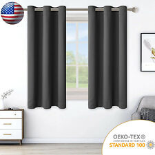 2 Panels Solid Blackout Curtains Thermal Insulated Window Drapes for Bedroom