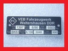 Schild Typenschild DDR IFA Anhänger AHK BK63 A108 Waltershausen VEB Robur S4000