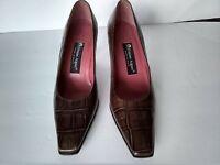 Etienne Aigner Women's  Brown Alligator Pumps Heels Shoes Size 8 1/2 M