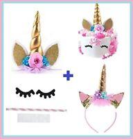 Unicorn Cake Topper with Eyelashes and Headband   DIY Unicorn Party Supplies Cak