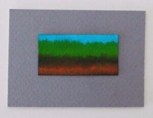 "SUMMER FIELD LANDSCAPE Miniature Pen Ink Mini Painting1""x2"" Julia Garcia Art NEW"