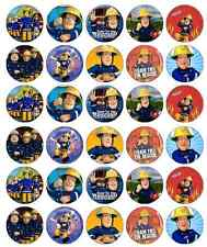 30x Fireman Sam Cupcake Toppers Edible Wafer Paper Fairy Cake Toppers