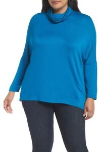 NORDSTROM CASLON High/Low Tunic Cowl Neck Plus 1X Blue Career Casual NWT