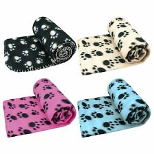 SMALL SOFT FLEECE PAW PRINT PET CAR BLANKET DOG PUPPY CAT BED WINTER WARMER