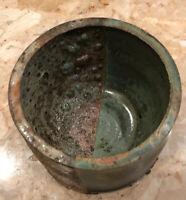 """VTG Vase Planter Flower Pot 4x3"""" Handmade Glazed Textured Bubbles Pottery Signed"""