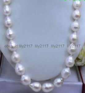 23 INCH HUGE 12-13 MM NATURAL WHITE freshwater BAROQUE PEARL NECKLACE
