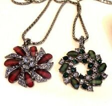 "Beautiful Two Pieces GREEN & Maroon Crystal Rhinestone Flower Necklace  17"" Long"