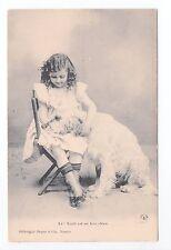 Animal CHIEN Chiens DOG dogs 34 carte fantaisie chien blanc fillette robe claire