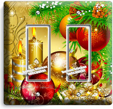 CHRISTMAS TREE ORNAMENTS CANDLES DOUBLE GFCI LIGHT SWITCH PLATE COVER HOME DECOR