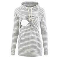 Womens Nursing Maternity Long Sleeves Top Stripe Breastfeeding Hoodie Sweatshirt
