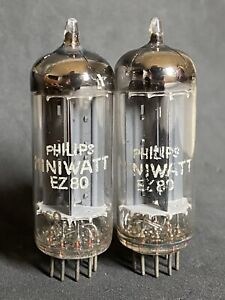 RARE MATCHED PAIR OF PHILIPS MINIWATT EZ80 SQUARE GETTERS SAME DATE kC0 +6K 1956