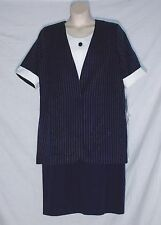 LANE BRYANT VINTAGE 70'S DUSTER JACKET & DRESS SET - BLUE & WHITE – SIZE 16/18