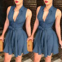 Women Ladies Blue Jeans Denim Sleeveless Casual Party Short Mini Dress