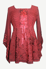 211 B Exquisite Diamond Neck Bell Sleeve Crape Corset Embroidered Blouse