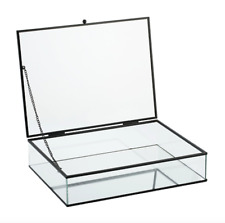 Large Glass Jewellery Box Metal Clear Vintage Necklaces Earring Storage Case