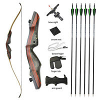 "62"" Archery Recurve Bow Arrows Set Takedown Wooden Shooting Hunting 20-50lbs"