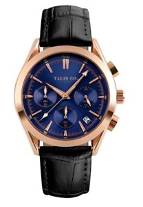 MENS TALIS Co Royal Chrono Watch - Rose Gold Colour Case - Blue Dial - Leather