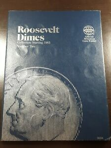 1965 - 2004 Roosevelt Dime Collection  74 coins total Whitman Album