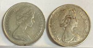1970 And 1975 (qty 2) Great Britain 5 New Pence.