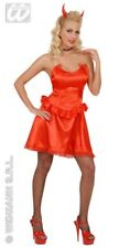 Ladies Sexy Red Devil Temptress Satin Halloween Fancy Dress Size 10-14